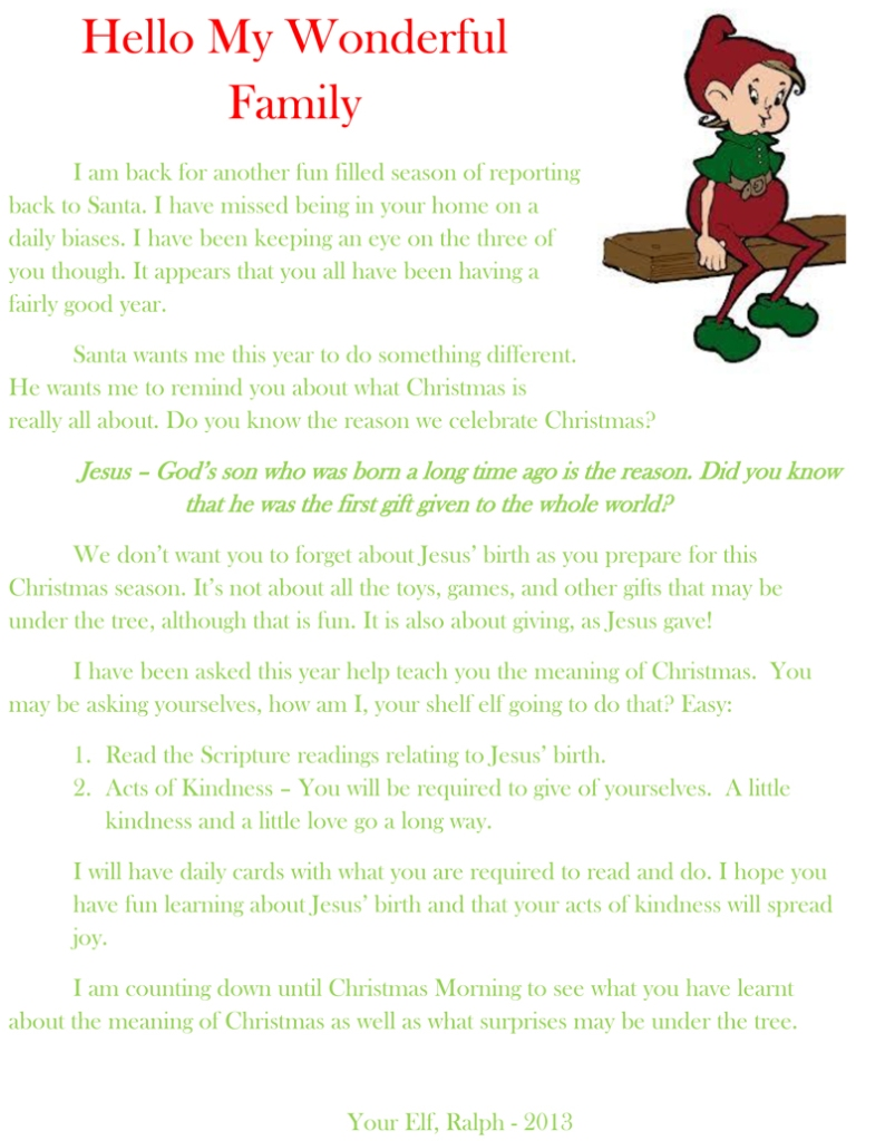 2013 letter from the elf on the shelf
