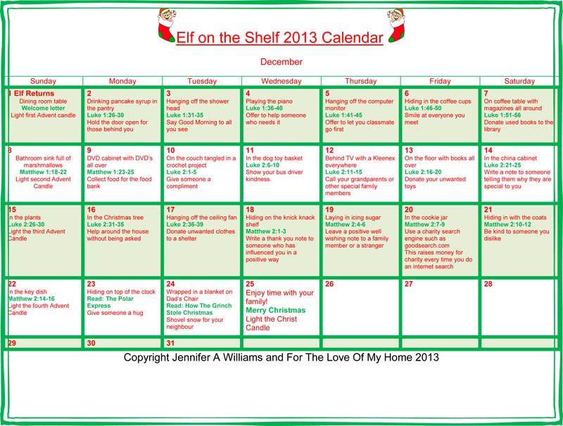 Elf on the Shelf 2013 Calendar_web