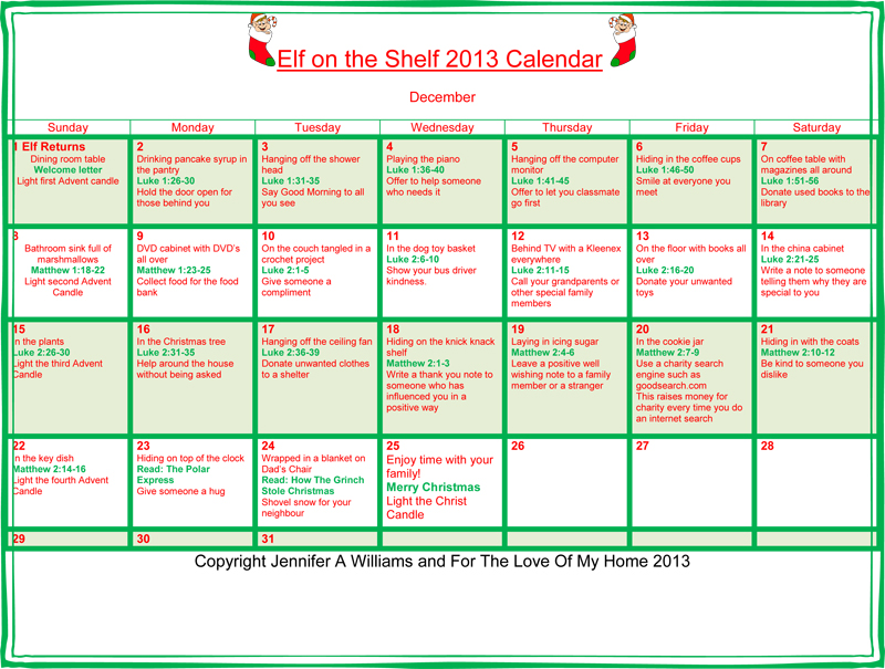 Elf on the Shelf 2013 Calendar_web